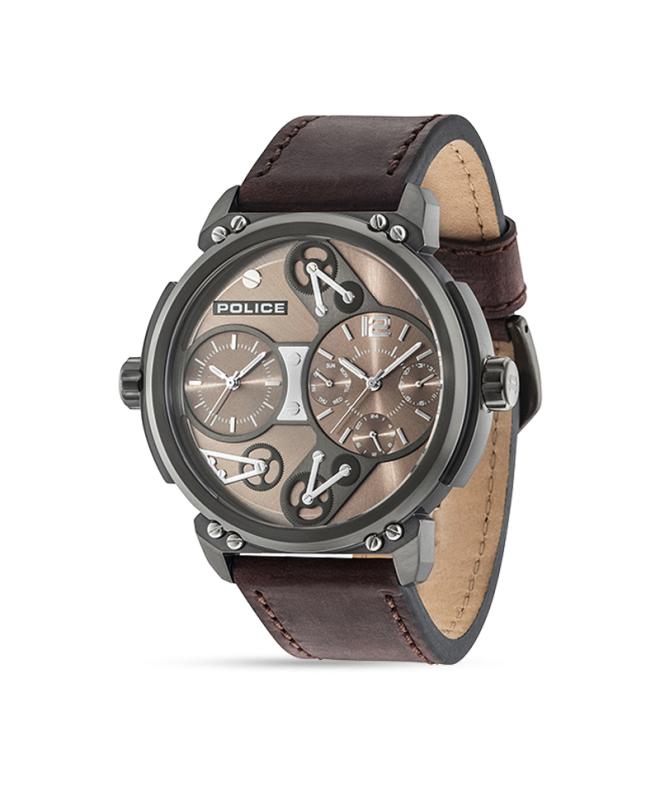 Police Steampunk multi d.brown dial brown strap - galleria 1