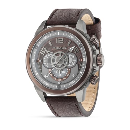 Police Belmont multi brown dial brown strap