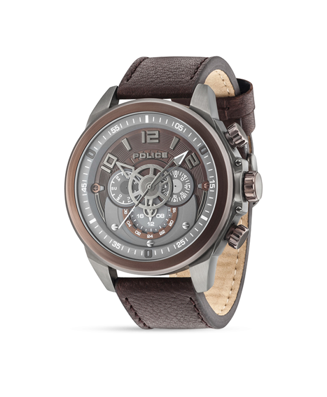 Police Belmont multi brown dial brown strap - galleria 1