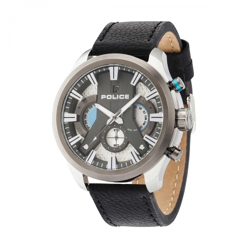 Police Cyclone chr silver dial black strap