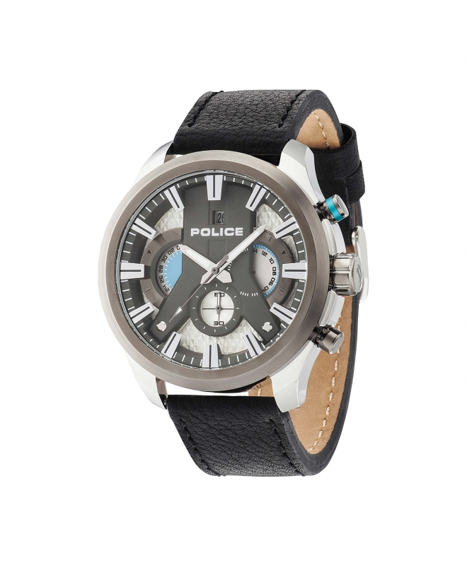 Police Cyclone chr silver dial black strap - galleria 1