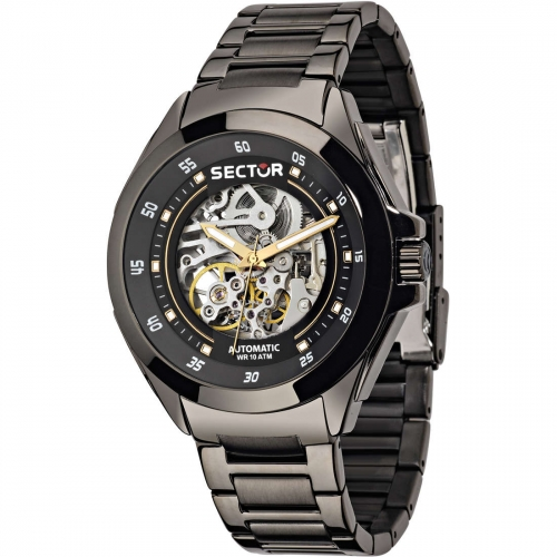 Sector 720 44mm 3h auto black dial br ss uomo R3223587001