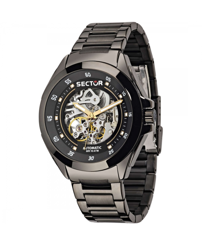 Sector 720 44mm 3h auto black dial br ss - galleria 1