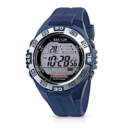 Sector Street digital silver dial/blue pu uomo R3251372315