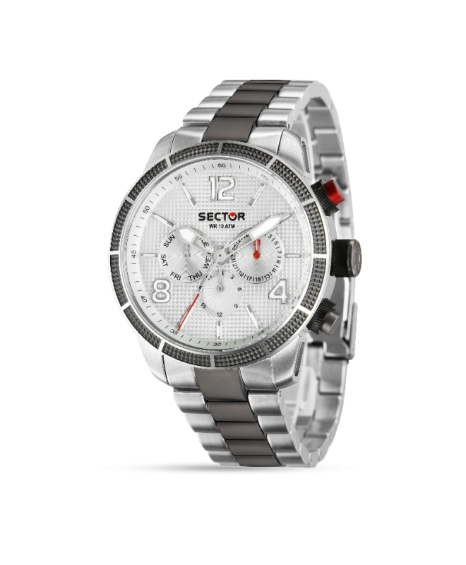 Sector 850 45mm multi white silver dial br ss - galleria 1