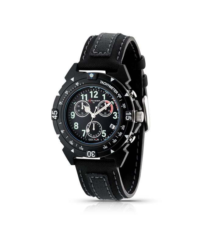 Sector Expander 90 chr black dial/ black strap uomo R3271697025 - galleria 1