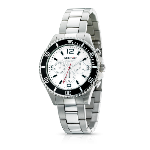 Sector 230 gent 43mm multif.white dial/bracelet