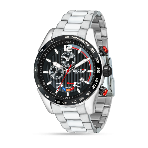 Sector 330 yachting 45mm chro black dial br ss uomo R3273794009