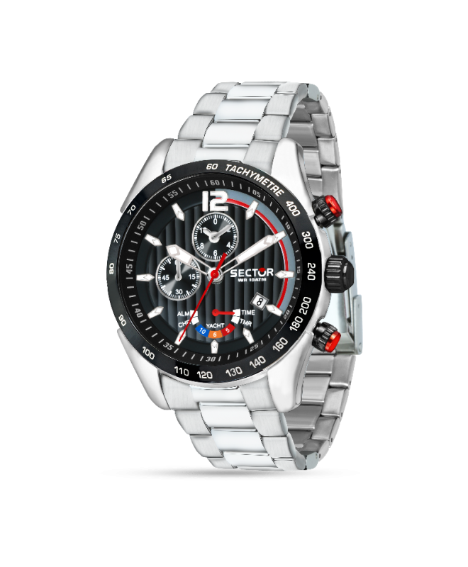 Sector 330 yachting 45mm chro black dial br ss - galleria 1