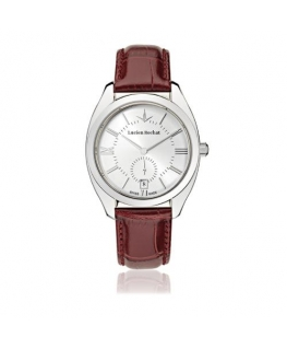 Lucien Rochat Lunel 36mm 3h w/silver dial red strap