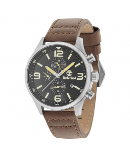 Timberland Rutherford 6h black dial brwon strap