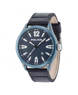 Police Denton 3h d.blue dial black strap