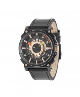 Police Compass 3h black dial black strap