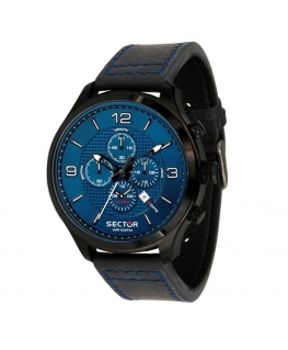 Orologio Sector Traveller chrono pelle blu 48 mm
