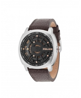 Police Speed head 3h black dial brown strap