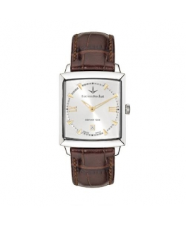 Lucien Rochat Kron 35x30mm 3h silver dial brown st