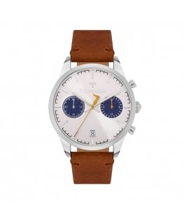 Trussardi T-genus 40mm chr silver dial brown strap