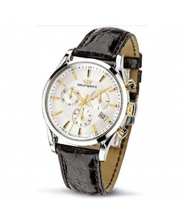 Philip Watch Sunray chr. silver white d/brown s.