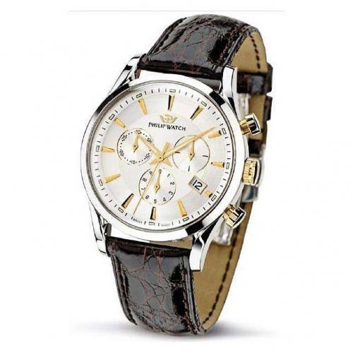 Philip Watch Sunray chr. silver white d/brown s. uomo