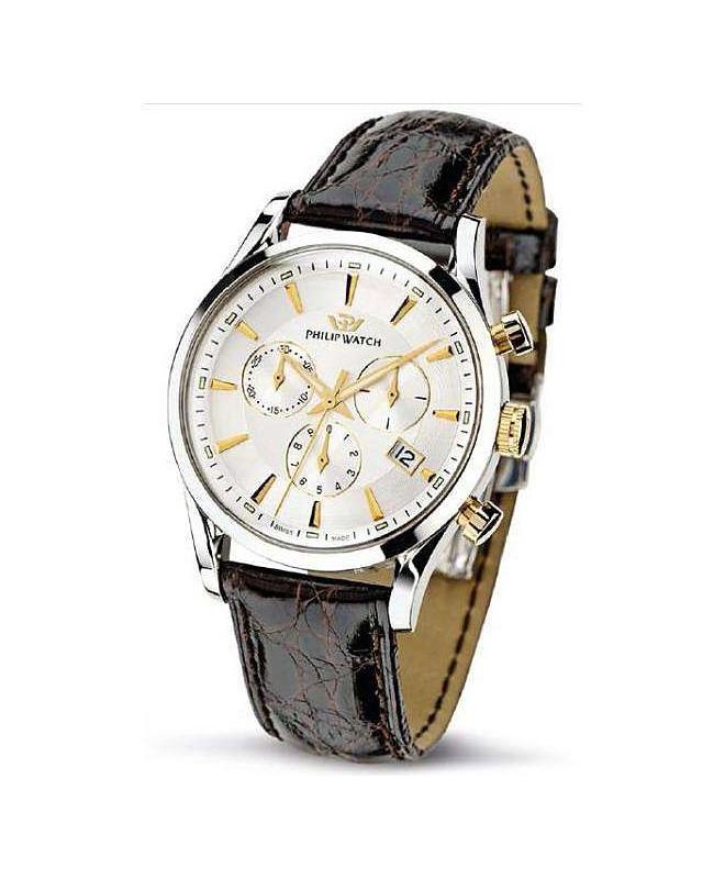Philip Watch Sunray chr. silver white d/brown s. uomo - galleria 1