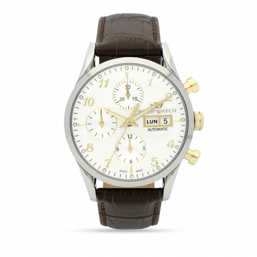 Philip Watch Sunray 39mm chr.aut white dial brown st uomo