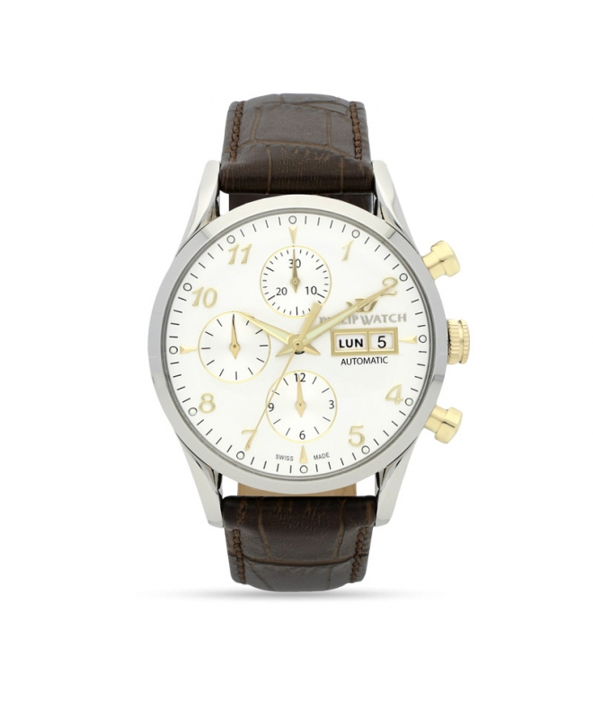 Philip Watch Sunray 39mm chr.aut white dial brown st uomo - galleria 1