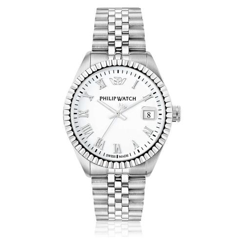 Philip Watch Caribe 39mm 3h white dial brac uomo R8253597022