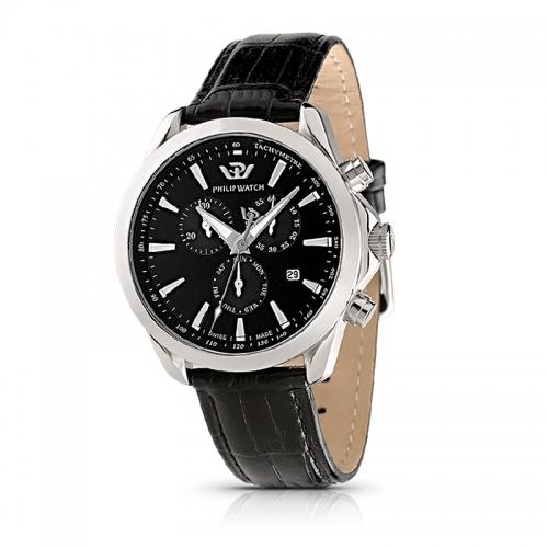Philip Watch Blaze chr black d/black strap uomo R8271995225