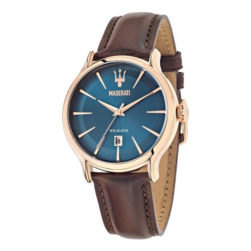 Maserati Epoca 42mm 3h blue dial brown str rg uomo R8851118001