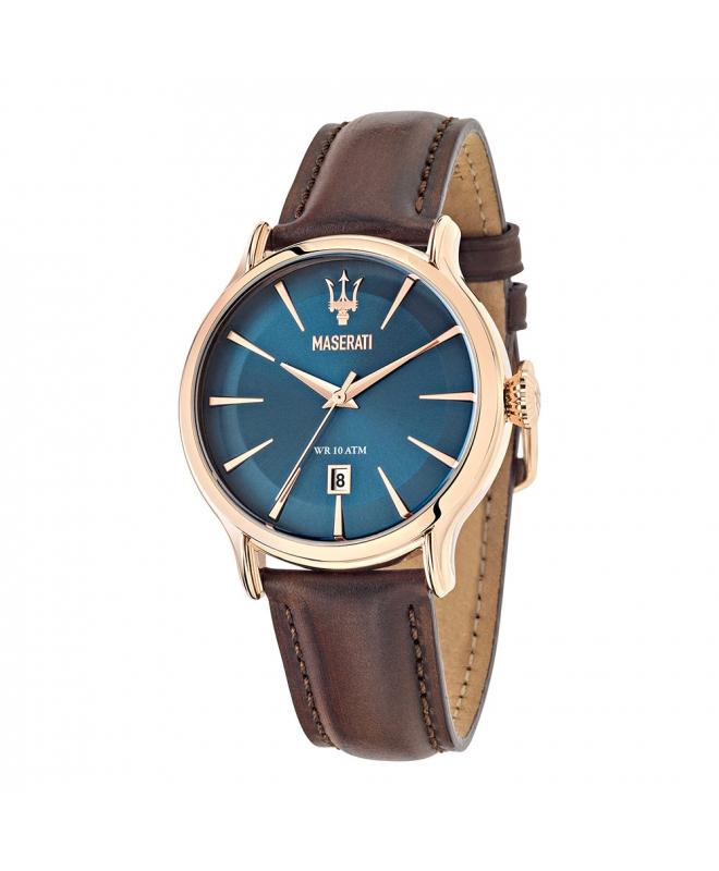 Maserati Epoca 42mm 3h blue dial brown str rg uomo R8851118001 - galleria 1