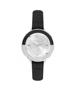 Furla Club 34mm 2h w/silver dial black strap