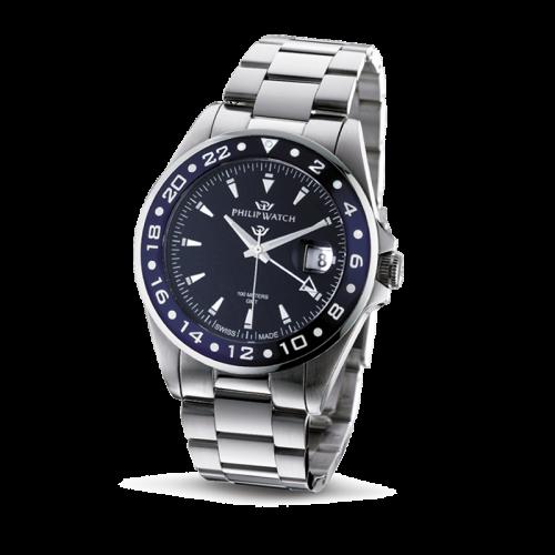 Orologio Philip Watch Caribe GMT uomo acciaio / blu uomo