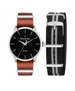 Trussardi T-evolution 40mm 3h blk dial chocolate s