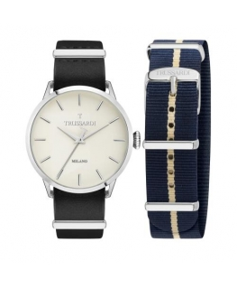 Trussardi T-evolution 40mm 3h ivory dial black st