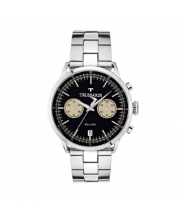 Trussardi T-evolution 40mm 3h blk dial ss b