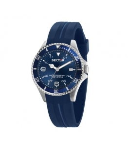Sector 230 39mm 3h blue dial silicon blue st