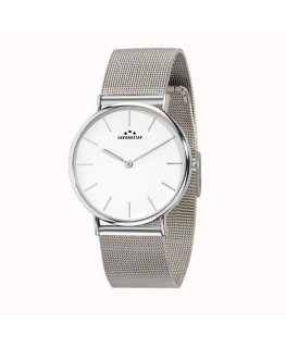 Chronostar Preppy 40mm 2h white dial mesh band ss