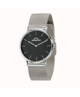 Chronostar Preppy 40mm 2h black dial mesh band ss