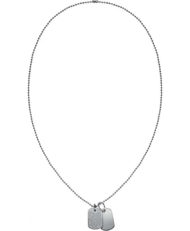 Tommy Hilfiger Mini pave dogtag necklace ss - galleria 1