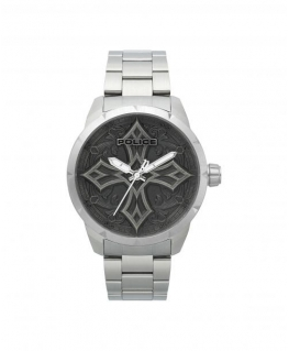 Police Cavern 3h silver dial ss br