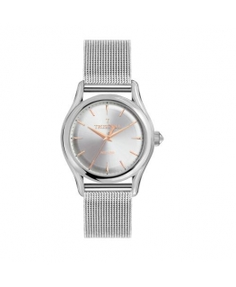Trussardi T-light 39mm 3h w/silver dial ss mesh