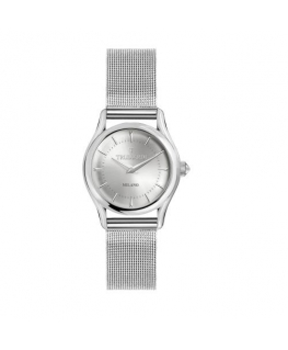 Trussardi T-light 32mm 2h w/silver dial mesh br ss
