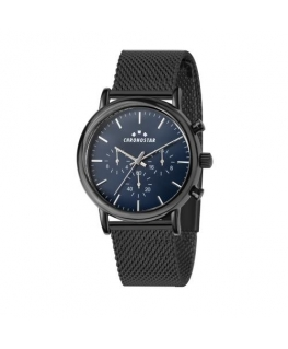 Chronostar Polaris 43mm multi blue dial mesh br blk