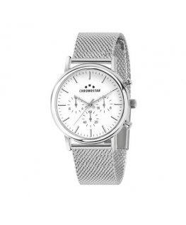 Chronostar Polaris 43mm multi white dial mesh br ss