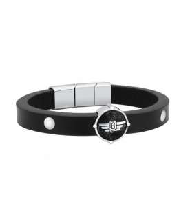 Police Edgy br.ss+black circle plate blk strap