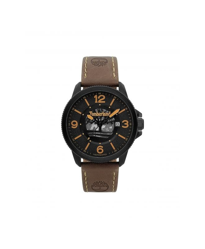 Timberland Biddeford auto black dial brown leather - galleria 1