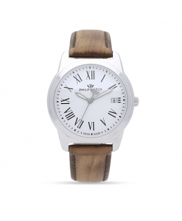 Philip Watch Timeless gent 38mm 3h white dial brown s