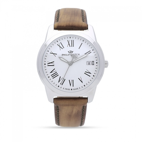 Philip Watch Timeless gent 38mm 3h white dial brown s uomo