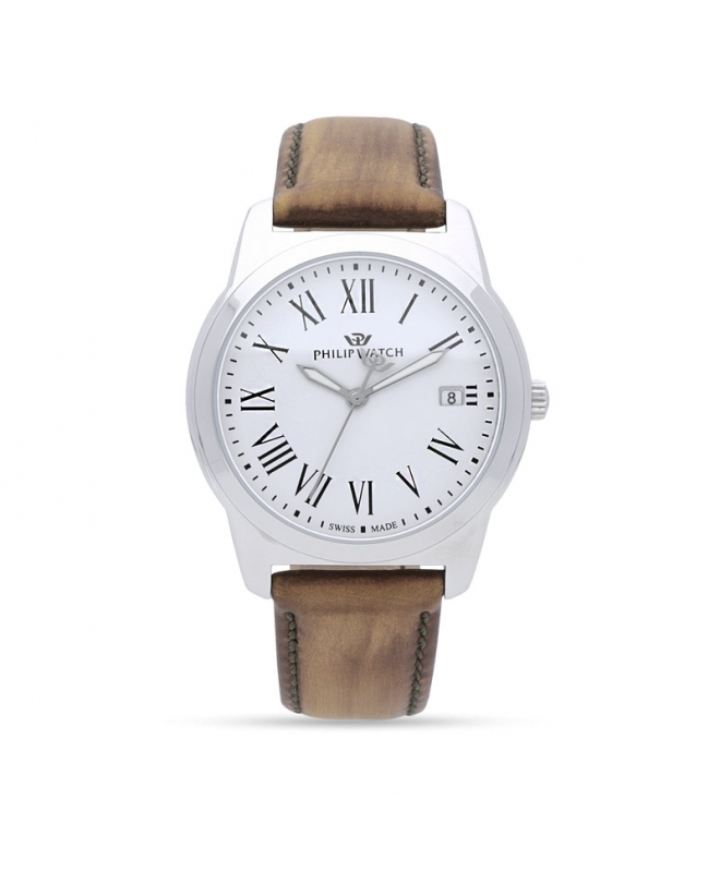 Philip Watch Timeless gent 38mm 3h white dial brown s uomo - galleria 1