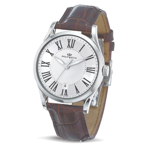 Philip Watch Sunray 3h silver white dial brown strap uomo